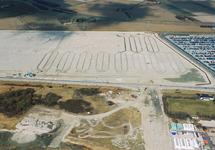 Luchtfoto van het bouwrijp maken van de Jooslandpolder te...