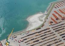 Luchtfoto aanleggen onderwaterdepot met zand afkomstig van de...