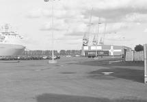 Nieuwe auto's op de kade bij de ro-ro haven in de Zevenaarhaven.