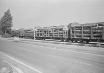 Trein geladen met boomstammen op het spoor langs de Duitslandweg in...