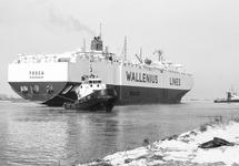 Ro-ro schip Tosca van Wallenius Lines met sleepboten op het kanaal ter...