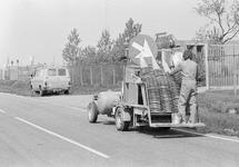 Wagen voor het aanbrengen van wegmarkeringsstrepen.