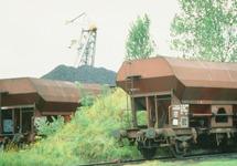 Wagons met kolen bij de terminal van Ovet in de Massagoedhaven.