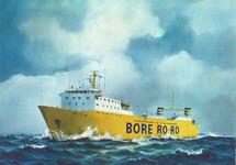 Gekleurde prentbriefkaart van een Ro-Ro schip van Bore Ro-Ro lines in...