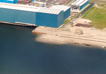 Luchtfoto van de werkzaamheden van de uitbreiding aan de Scaldiahaven,...