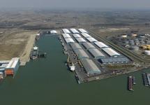 Zeeschepen in de Scaldiahaven met loodsen van Verbrugge Terminals.