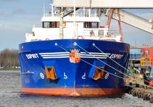 Zeeschip Esprit aan de kade bij Yara Sluiskil.