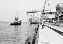 Zeeschip en sleepboot aan de kade bij de Nederlandse Stikstof...