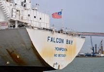 Lossen van zeeschip Falcon Bay bij ZZ Coldstore in de Bijleveldhaven.