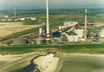 Luchtfoto van de kolencentrale van de PZEM te Vlissingen-Oost.