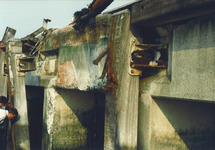 Schadevaring Sloekade door het m.s. Regina, juli 1989.