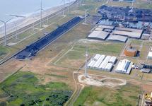 Luchtfoto terreinen aan de Monacoweg, bij de kolentransportband.