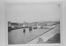Reproductie van een foto uit omstreeks 1907 van de brug bij Sluiskil.