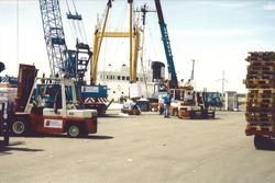 Overslagwerkzaamheden bij Flushing Stevedoring aan de Bijleveldhaven.