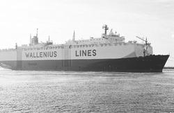Ro-ro schip van Wallenius Lines op het kanaal ter hoogte van...