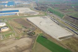 Luchtfoto aanleggen zanddepot aan de Liechtensteinweg met zand...