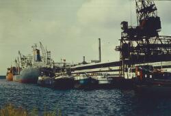 Binnenvaartschepen en zeeschip aan de kade bij de Nederlandse Stikstof...