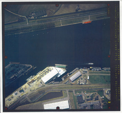 Verticale luchtfoto havengebied Terneuzen. Noorderkanaalhaven....