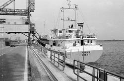 Het schip Harma aan de kade bij Zuid Chemie te Sas van Gent.