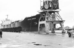 Zeeschip Navios Miner aan de kade in de Zevenaarhaven. Op de kade...
