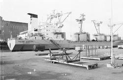 Het zeeschip Mount Sabana is aan het lossen aan de kade van de...
