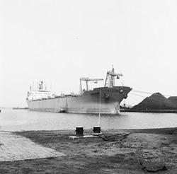 Overslag met drijvende kranen van Ovet B.V. in de Massagoedhaven.