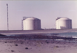 Opslagtanks van Dow Chemical op de Mosselbanken