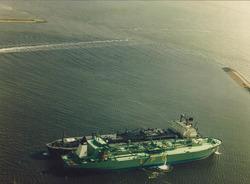 Twee zeeschepen op de boeien in de Sloehaven.