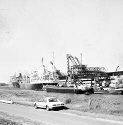 Zeeschepen en binnenvaartschip aan de kade van de Nederlandse Stikstof...