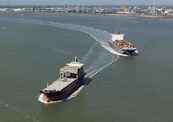 Scheepvaart op de Westerschelde met op de achtergrond de havens van...