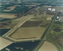 Luchtfoto toekomstige terreinen Cobelfret aan de Ritthemsestraat te...