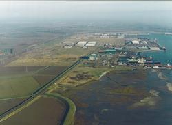 Luchtfoto schorren aan de Ritthemsestraat nabij Scheldepoort.