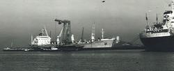 Overslag uit een zeeschip met drijvende kranen aan de terminal van...