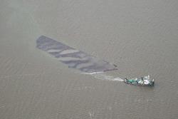Luchtfoto van de baggerwerkzaamheden t.b.v. de 2e fase steiger...