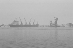 Overslag van kolen met drijvende kranen bij de terminal van Ovet in de...