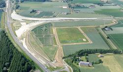 Luchtfoto terrein Sloepoort, met aanleg werkzaamheden voor de nieuwe...