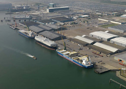 Zeeschepen aan de Sloekade bij Verbrugge Terminals.