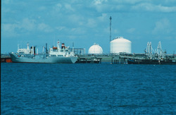 Schepen in de Braakmanhaven met Dow Chemical op de achtergrond.