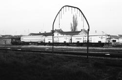 Trein op het rangeerterrein in Sas van Gent.