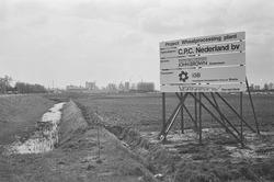 Bouwbord voor het bouwen van de Wheatprocessing plant bij C.P.C....