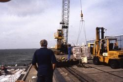 Lossen van een schip bij de N.V. Haven van Vlissingen.