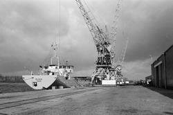 Lossen van het schip Elisia met kranen op de kade aan de...