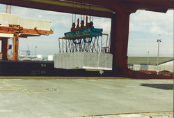 Het lossen van een zeeschip met forest products aan de Sloekade.