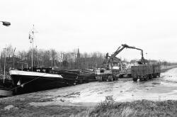 Het lossen van suikerbieten op het Kanaaleiland Sas van Gent uit een...