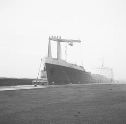 Overslag met drijvende kraan vanuit een zeeschip aan de terminal van...