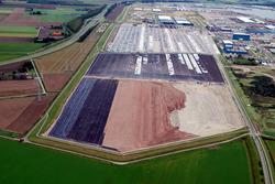 Luchtfoto uitbreiding 2e fase Cobelfret aan de Ritthemsestraat.