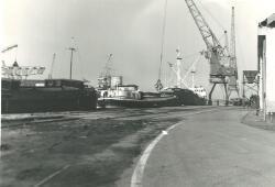 Binnenvaartschepen in de Zuiderkanaalhaven.