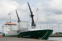 Laden en losse schip Green Bergen in de Bijleveldhaven bij...