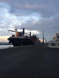 Containerschip CMA CGM Africo One aan de kade bij Kloosterboer in de...