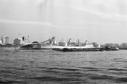 Zeeschepen aan de kade bij de Nederlandse Stikstof Maatschappij (NSM)